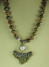 Statement Unakite & Pearl Hand Knotted Necklace & Earring Set Sterling Silver