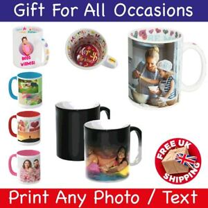 Personalised Mug Photo Custom Text Magic Collage Coffee Tea Cup Christmas Gifts