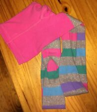 Girls Rainbow And Silver Striped Stockings Size Lg 10-12 The Children's Place