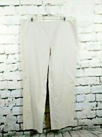 St John Womens size 14 Casual Work Flat Front Pants Straight Leg Cream Beige