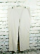 St John Pants Flat Front Ankle Cropped Beige Made in USA Womens 14