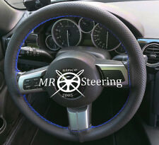 FOR MAZDA MX5 MK3 05-14 REAL PERFORATED LEATHER STEERING WHEEL COVER BLUE STITCH