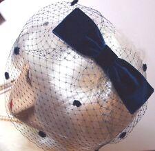 Vintage Inspired NAVY BIRDCAGE VEIL Velvet Bow Headpiece Revival Vintage Wedding