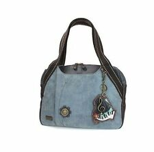 New Chala Handbag Bowling Zip Tote PIANO Music Large Bag Indigo Blue Pleather