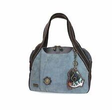 New Chala Handbag Bowling Zip Tote PIANO Music Large Bag Indigo Blue Pleather