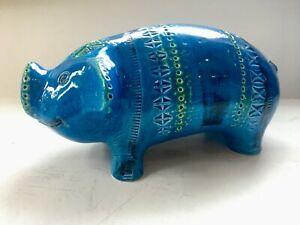 Bitossi Rimini Blue aldo londi animal figure PIG italian pottery Blu