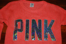 NEW Victoria's Secret VS PINK Neon Orange Bling Slouch Sweater (X-Small)