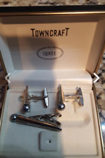 SWANK CUFF LINK SET WITH TIE BAR SILVER TONE WITH PEARL FREE SHIP