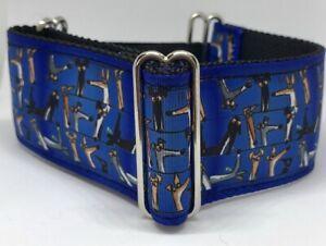 "Grosgrain Ribbon 2"" Martingale For Walking - Blue Greyhound Print"
