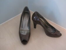 L K BENNETT TAUPE 100% PATENT LEATHER SPACE 2 PEEP TOE SHOES  UK 4 EU 37 L@@K