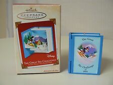 Hallmark Ornament 2002 THE GREAT SKI CHALLENGE NEW Mickey Mouse and Donald Duck