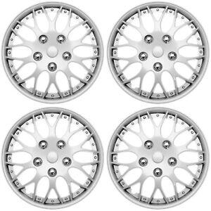 "4 Pc of 15"" Inch Silver Hub Caps Full Lug Skin Rim Cover for OEM Steel Wheel Cap"