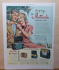 1950 magazine ad for Motorola radios - Music Box, Playmate Jr., Town & Country +
