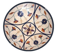 """30"""" Round Marble Coffee Console Top Outdoor Table Marquetry Floral Decor H5130A"""