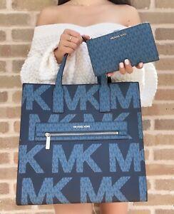 Michael Kors Kenly Large Tote Graphic Logo MK Blue + Double Zip Wristlet