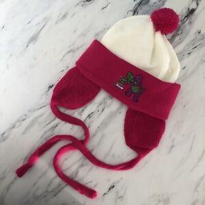 Vintage Barney Purple Dinosaur Winter Hat White Pink Baby Toddler Lyons Group