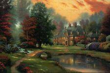 Lakeside Manor - House, Ponte, Brook, Giardino -thomas Kinkade Rivenditore