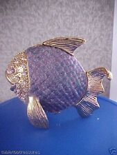Purple Angel Fish ~ Enameled & Jeweled Trinket Box