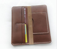 men women wallet purse cow Leather Bifold iphone Holder bag handmade brown z152