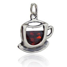 Coffee Cup Charm - 925 Sterling Silver - Clear Amber CZ Stone Tea Saucer NEW