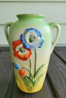 "Vtg Pastel Mint Green Hand Painted Vase Raised Embossed Poppy Flowers 6"" TRICO"