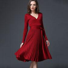 High Quality V-Neck Elegant Pleated Knitwear Dress With Belt Women Office