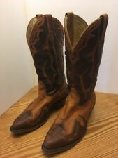 BOULET Cutout Leather Tan & Brown Stacked Heel Western Boots 7.5C Excellent