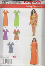 From UK Sewing Pattern Pullover Dress in 2 Lengths Sizes 4-26 (XXS - XXL) # 1375