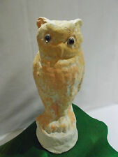 ☆☆ ~ Antique Paper Mache Halloween ~ SNOW OWL ~ with Splashes of Orange ~ ☆☆