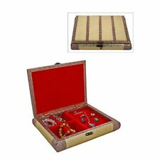 Gold Handcrafted Faux Leather Jewellery Box Organizer Trinkets Copper Strips