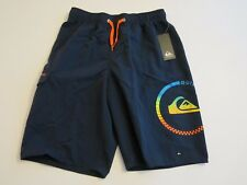 Quiksilver Boys L Board Swim Trunks Shorts Mesh Lined Navy Blue Orange Logo