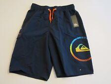 Quiksilver Boys L Board Swim Trunks Shorts Mesh Lined Navy Blue Orange Logo