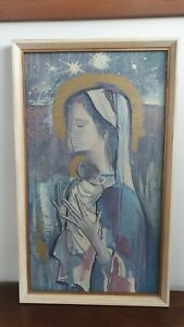 Mid Century Spanish Roser Agell Abstract Madonna & Child Framed Religious Print