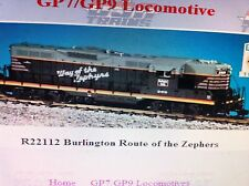 USA Trains G Scale GP7-9 Diesel Locomotive R22112 Burlington Zephyr GP9 gray/red