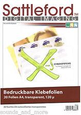 20 Blatt Klebefolie DIN A4 transparent Inkjet  Klebefolien  -  NEU & OVP
