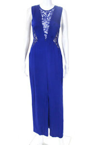Nicole Miller Womens Lace Panel Crepe Slit Sheath Gown Blue Size 2 11377391