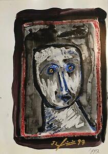 Jean-Louis Simonin-Pintura Original-Gouache-Retrato 2