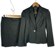 Anne Klein Suit Dark Gray One Button Blazer & Straight Skirt Set sz 2P