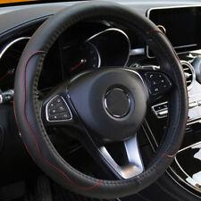 "Black & Red PU Leather Car Steering Wheel Cover 38CM 15""/37 Embossed Universal"