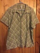 Fashion Bug Stretch Green Brown Plaid Women's Plus 30/32 Button Down Shirt
