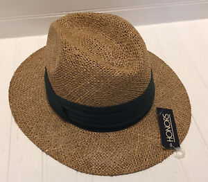 NEW Honors Womens Summer Straw Hat With Wide Brim One Size Green Fabric Band