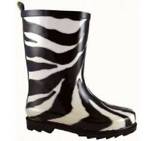 New Zebra Waterproof Rubber Boots Size 3 Poop Kickers Round Toe Knit Lining