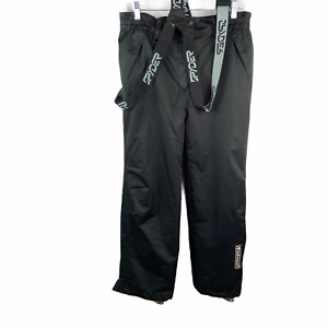 SPYDER Women Pants sz 52 Large Black Ski Snow Bibs Overalls Dermizax EV X-Static