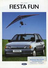 Prospekt Ford Fiesta Fun 8/92 Autoprospekt 1992 Broschüre brochure broschyr Auto