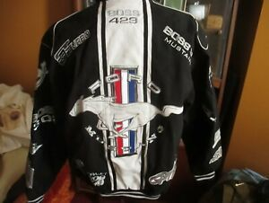 Ford Mustang Jacket Mens Black Cotton Twill Collage Embroidered JH Design M