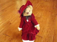 "Retired ""BRASS BUTTON BEARS~Gabrielle 1910s Red Velvet Dress"