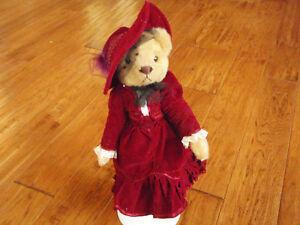 """Retired """"BRASS BUTTON BEARS~Gabrielle 1910s Red Velvet Dress"""