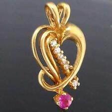 Pierced Solid 18k Yellow GOLD STYLIZED LOVE HEART PENDANT w/ RUBY & 6 CZs