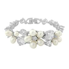 Beautiful Elegant Pearl and Crystal Silver Wedding Bridal Occassion Bracelet
