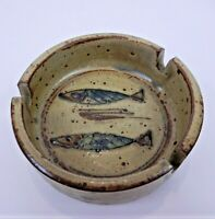 """Vintage Fish Ashtray with Two Fish Pitted Small Round Ceramic 3.5"""""""
